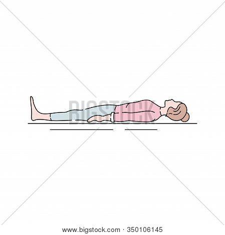 Corpse Pose Savasana Color Line Icon. Asana In Hatha Yoga And Modern Yoga As Exercise. Pictogram For