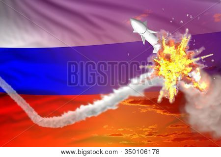 Russia Intercepted Ballistic Missile, Modern Antirocket Destroys Enemy Missile Concept, Military Ind