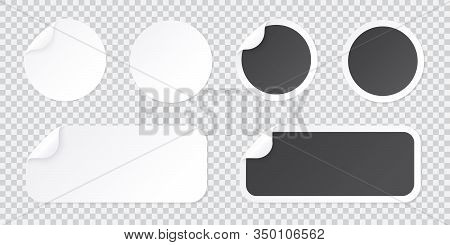 Round Sticker Template With Peel Of Corner, Black And White Price Tag Or Promo Label Template Isolat