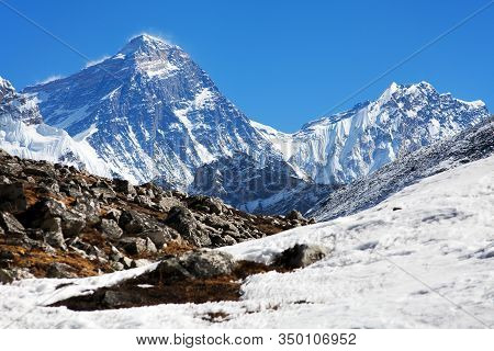 Top Of Mount Everest And Lhotse From Gokyo Valley  - Way To Everest Base Camp - Nepal Himalayas Moun