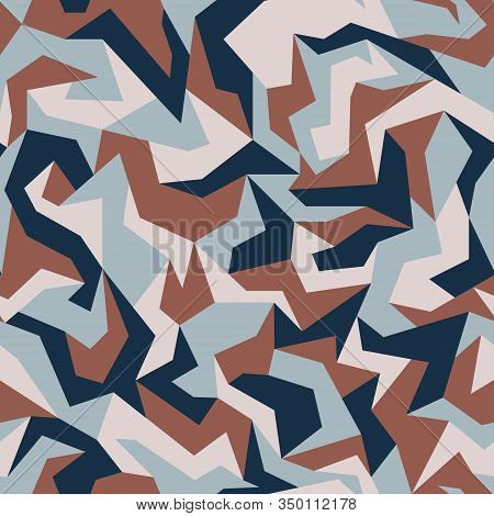 Geometric Camouflage Pattern Background. Urban Clothing Style, Abstract Camo Repeat Print. Blue, Nav