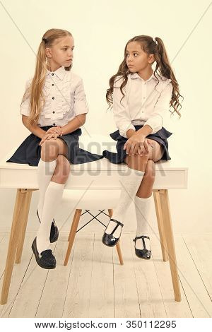 Why Are You Sad. Schoolgirls Tidy Hairstyle Relaxing Having Rest. School Uniform. School Club. Littl