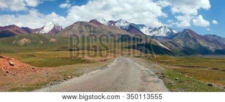 Beautiful Landscape Panorama Of Pamir Mountains Area In Kyrgyzstan. Pamir Highway M41 International
