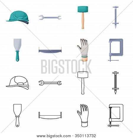 Vector Illustration Of Renovation And Household Logo. Collection Of Renovation And Handicraft Stock