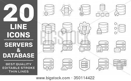 Collection Of Servers And Database Liner Icons. Detailed Vector Icons. Servers, Databases, Network D