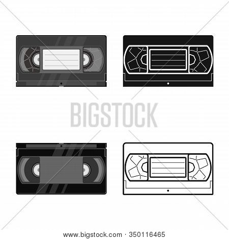 Vector Design Of Videotape And Videocassette Icon. Web Element Of Videotape And Reel Stock Vector Il