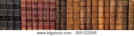 Long Row Of Antique Books In A Leather Hardcover As A Banner