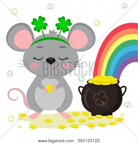 Postcard To The Day Of St. Patrick. A Cute Gray Mouse In A Rim Of Clover Stands And Holds A Coin In