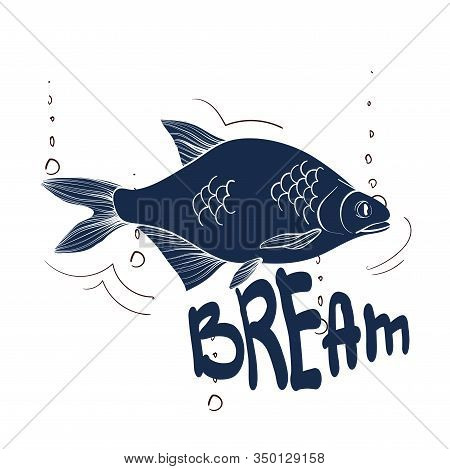 Fishing Logo. Bream. Fishing Vector Illustration. Isolated On White.