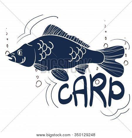 Fishing Logo. Carp. Fishing Vector Illustration. Isolated On White.