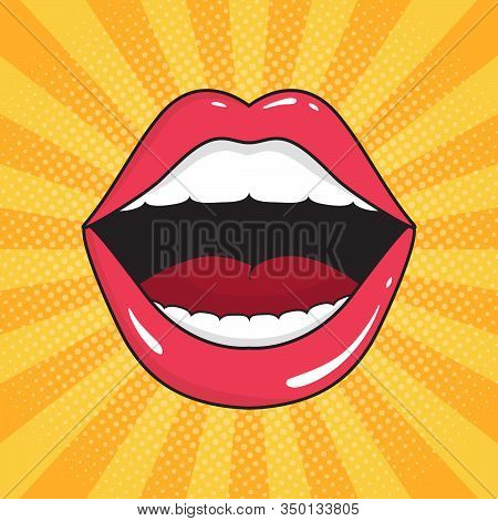 Pop Art Background With Open Mouth. Red Lips Of Girl Retro Style For Comic Book. Female Open Mouth W