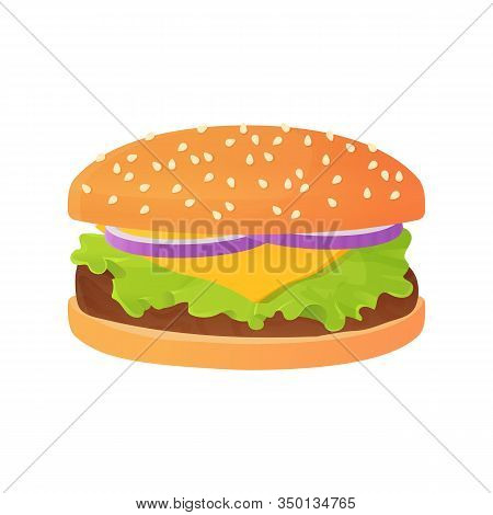 Delicious Cartoon Cheeseburger With Onion, And Salad Or Lettuce, Beef Steak And Bun With Sesame.fast