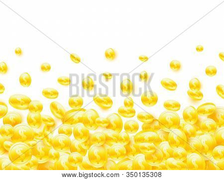 Gold Coins Falling On White Background. Realistic Golden Coins Explosion. 3d Coin Set. Bingo, Jackpo