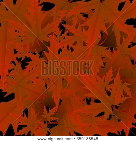 Maple Leaves Vector, Autumn Foliage On Transparent Background. Canadian Symbol Maple Red Dry Autumn