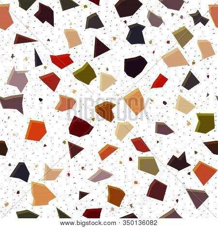 Trendy Terrazzo Seamless Pattern On White Background. Granite Fragments Texture Backdrop. Italian Fl