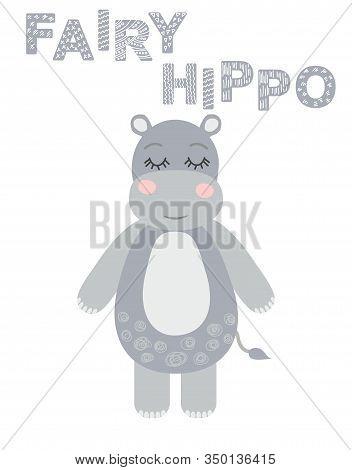Cute Sweet Little Hippo Smiling Face Art. Kids Nursery Scandinavian Hand Drawn Illustration. Simple