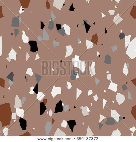 Terrazzo Seamless Pattern. Chaotic Granite Fragments Texture Backdrop. Italian Flooring In Venetian