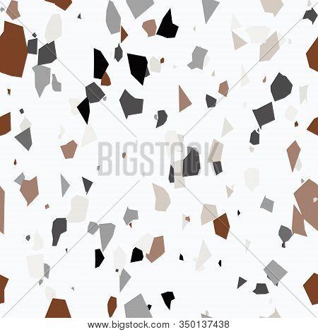 Pastel Colors Terrazzo Seamless Pattern. Granite Fragments Texture Backdrop. Italian Flooring In Ven