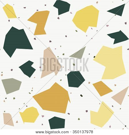 Italian Flooring In Venetian Style Terrazzo Seamless Pattern. Granite Fragments Texture Backdrop. Ti