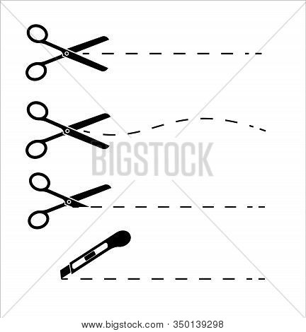 Scissors With Cut Lines Isolated On White Background. Paper Cut Icon With Dotted Line. Vector Scisso