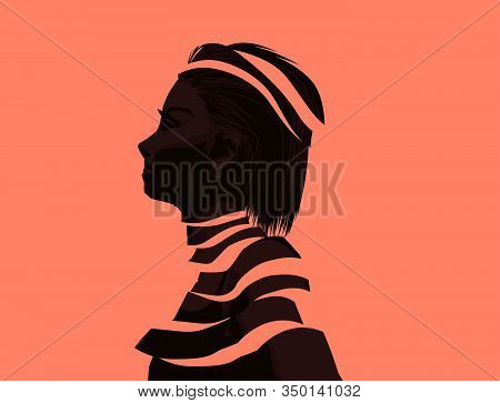 A Fragmented Women. Mental Wellbeing And Issues Concept. People Vector Illustration.