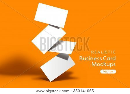 Stack Of Business Cards On A Orange Background. Brand Identity Mockup Design With Shadows. Vector Il