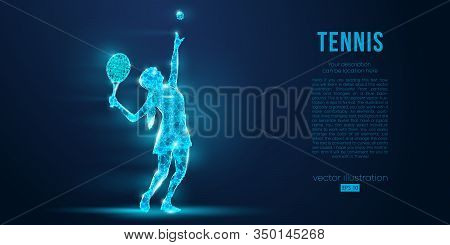 Abstract Silhouette Of Tennis Player Woman, Girl, Female With Ball And Racket. All Elements On A Sep