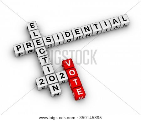 Vote presidential election 2020 year sign. 3D crossword puzzle on white background.