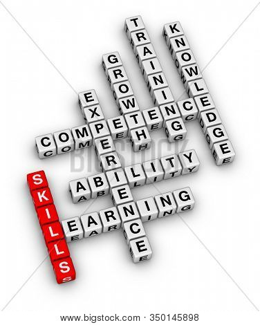 Personal Soft Skills Concept Word Cloud. 3D cubes crossword puzzle on white background.