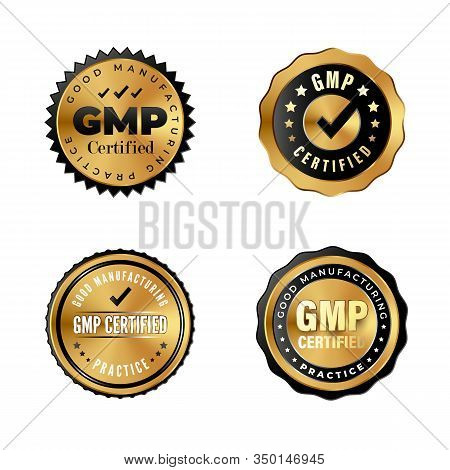 Gmp Certified Luxury Gold Badges. Industrial Stickers For Premium Products With Good Manufacturing P
