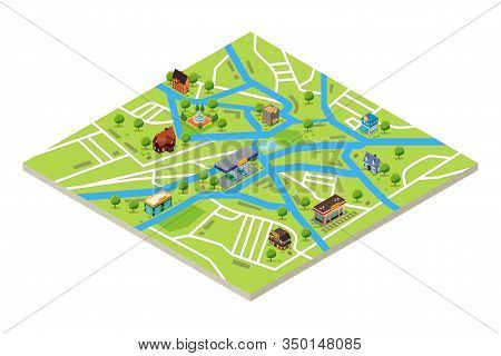 A Vector Illustration Of Isometric Map Of A City In Gps Style