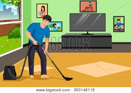 A Vector Illustration Of Father Vacuuming The Carpet In The Living Room