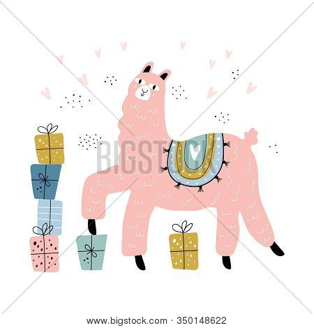 Cute Lama Vector Illustration Of Happy Birthday Typography