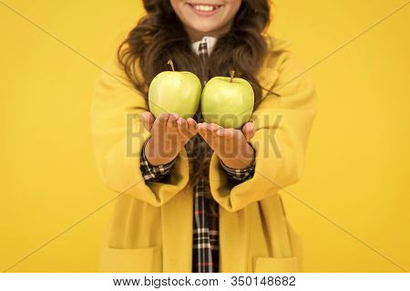 Pick One. Organic Natural Product. Girl Hold Apples. Local Crops Concept. Healthy Lifestyle. Eat Fru