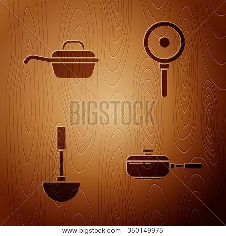 Set Frying Pan , Frying Pan , Kitchen Ladle And Frying Pan On Wooden Background. Vector