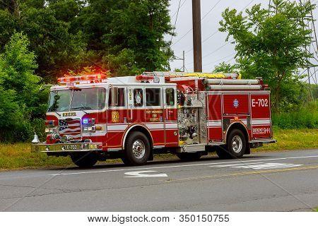 10 February 2020 East Brunswick Nj Usa: Fire Truck In Fire Department In East Brunswick Fire Diatric