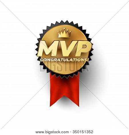 Mvp Most Valuable Player Gold Badge Concept With Champion Crown Above The Luxury Gold Styled Mvp Phr