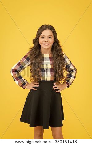 Fashion Never Goes Out Of School. Little Schoolchild In Formal Fashion Yellow Background. Small Vogu