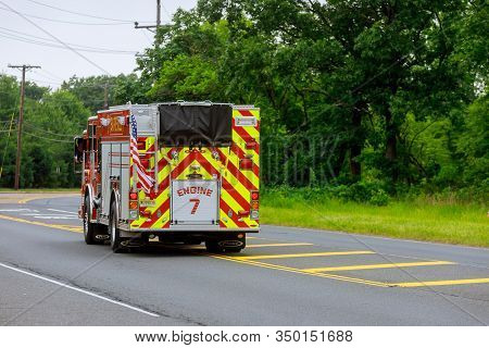 10 February 2020 Sayreville Nj Usa: Fire Department Vehicles Stationed On A Street In Sayreville Nj
