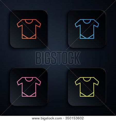 Color Neon Line Baby Onesie Icon Isolated On Black Background. Baby Clothes Symbol. Kid Wear Sign. S