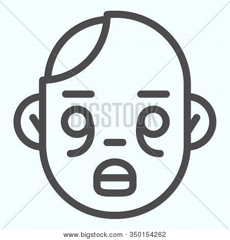 Zombies Line Icon. Zombie Head With Child Face. Halloween Vector Design Concept, Outline Style Picto