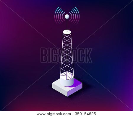 Isometric Telecommunication Tower With Connection Waves, Dark Background. Communication Tower For Ne