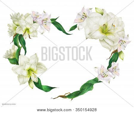 Tender Heart Shape Wreath With White Flowers, Realistic Watercolor Illustration