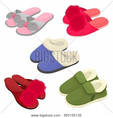 Set Of Home Slippers, Warm And Summer Slippers With Pompons .vector Isolates In Cartoon Flat Style.