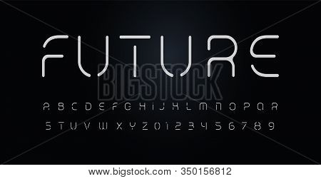 Future Stencil Alphabet. Thin Segment Line Font, Minimal Type For Modern Futuristic Logo, Elegant Mo