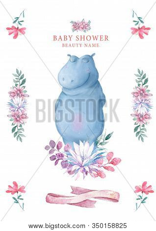 Cute Happy Birthday Card With Hippo. Watercolor Hippo And Beauty Pink Flowers, Floral And Leaf For G