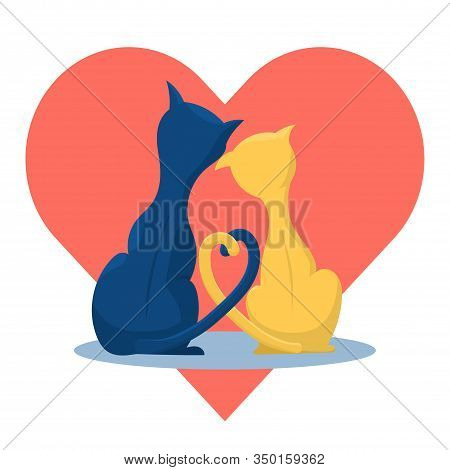 A Couple Of Cute Cats In Love On The Background Of The Heart. Flat Vector Illustration In Trendy Col