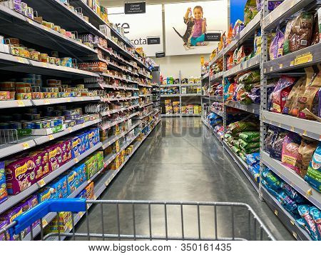 Orlando,fl/usa -2/6/20:  The Cat Food Aisle Of A Walmart Superstore With Cat Food Products From Vari