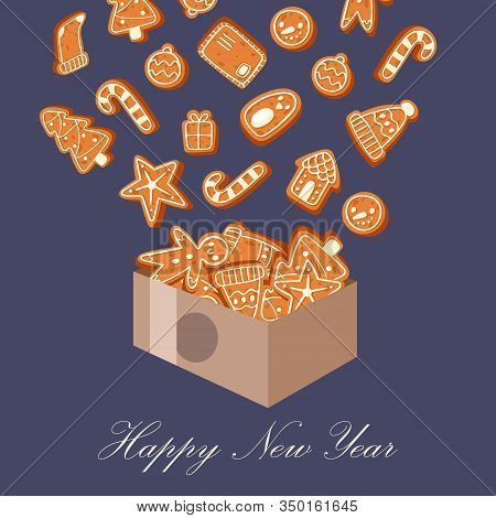 Gingerbread Cookies Happy New Year And Christmas Vector Illustration. Greeting Holiday Card With Ang