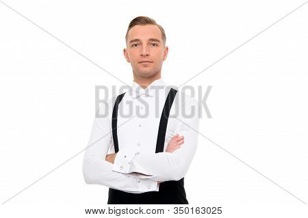 Gentlemens Club. Confidence Concept. Guy Confident Face Dressed In Formal Luxury Suit. Man Dancer Ba